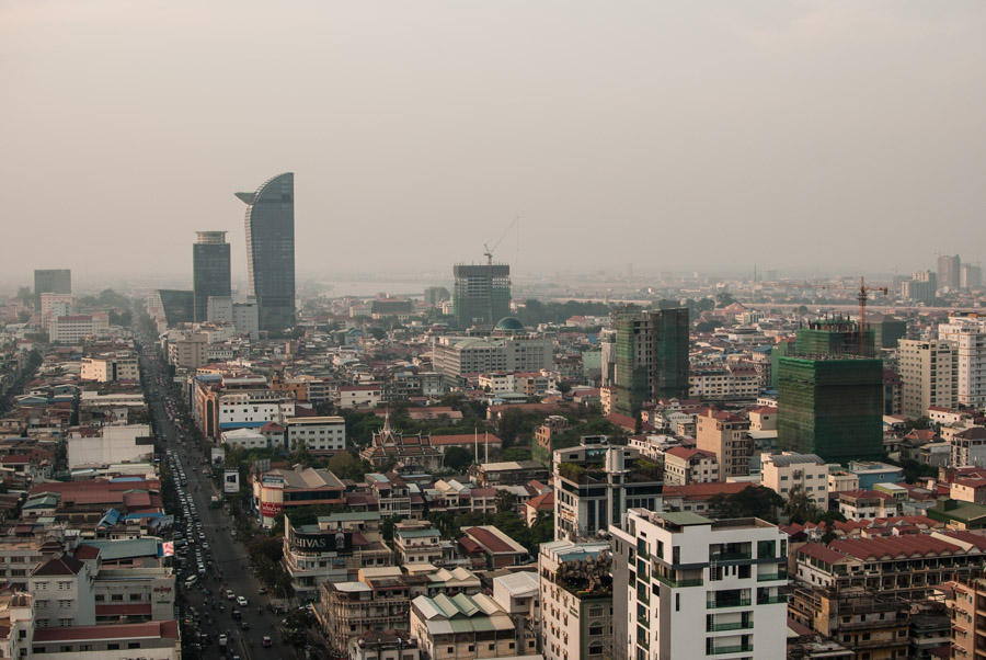A view of Phnom Penh's rising skyline, including its tallest skyscraper, the 188-meter-high Vattanac Capital Tower.